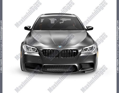 Matte black 2015 BMW F10 M5 luxury car isolated on white background with clipping path