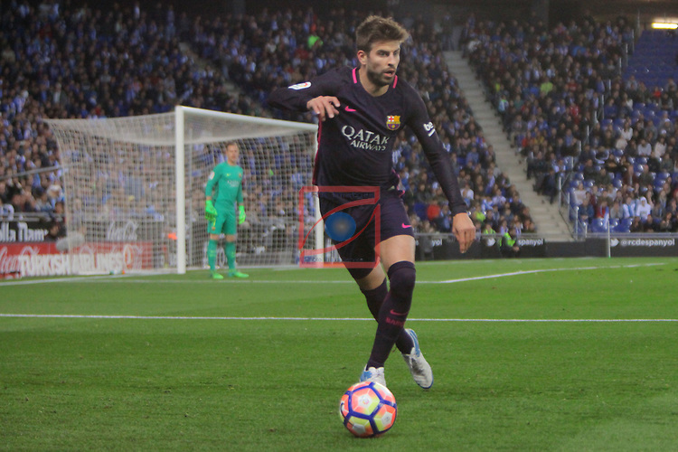 League Santander 2016/2017. Game: 35.<br /> RCD Espanyol vs FC Barcelona: 0-3.<br /> Gerard Pique.