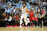CHAPEL HILL, NC - NOVEMBER 01: Rechon Leaky Black #1 of the University of North Carolina dribbles the ball up the court during a game between Winston-Salem State University and University of North Carolina at Dean E. Smith Center on November 01, 2019 in Chapel Hill, North Carolina.