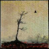 Silhouette of bare tree over antique map of China with crow and encaustic painting of indian red earth.