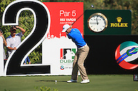 Ross Fisher teeing off on the second.on day one of the Dubai World Championship on the Earth Course at the Jumeirah Golf Estate, Dubai..Picture Fran Caffrey/www.golffile.ie.