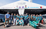 Antonio Felix da Costa of Portugal and Kamui Kobayashi of Japan pose for photos with the crew of MS & AD Andretti Formula E during the FIA Formula E Hong Kong E-Prix Round 2 at the Central Harbourfront Circuit on 03 December 2017 in Hong Kong, Hong Kong. Photo by Marcio Rodrigo Machado / Power Sport Images