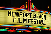 Stock photo of a Newport Beach Film Festival Movie Marquis
