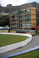 Scaffoldng is put up on the scoreboard at Hawkins Finance Basin Reserve in Wellington, New Zealand on Thursday, 18 August 2017. Photo: Dave Lintott / lintottphoto.co.nz
