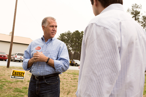April 6, 2014. Durham, North Carolina.<br />  Thom Tillis, left, is one of eight Republican candidates running for Democrat Kay Hagan's Senate seat.<br /> As the the primary scheduled for May 6th grows near, several of the the eight Republican candidates running for the US Senate seat of incumbent Democrat Kay Hagan have increased their public visibility, appearing at events such as the Durham County Lincoln Douglas Lunch, where each candidate was given a few minutes to address the gathered Republican friendly crowd.