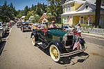 Independence Day celebration Main Street, Mokelumne Hill, California..Antique Fords-Model As from the 1930s