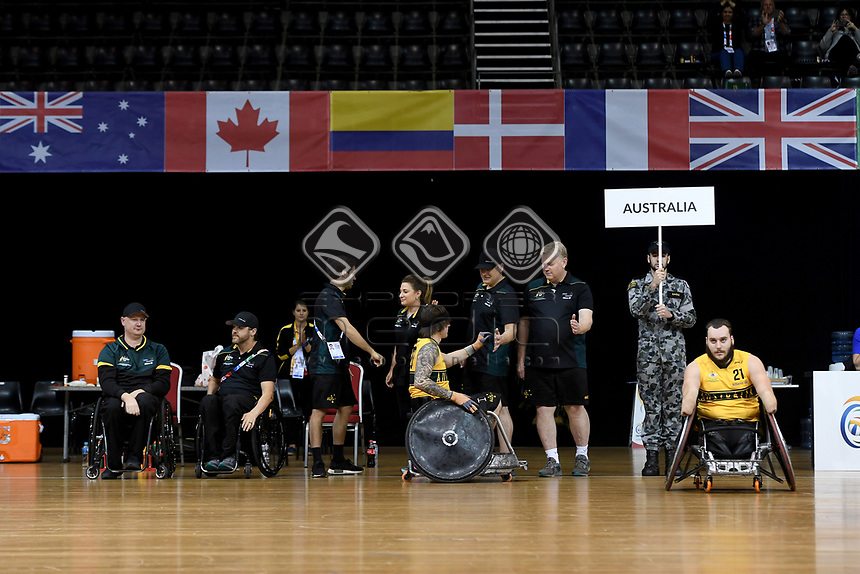 Jayden Warn (AUS) vs GB<br /> Australian Wheelchair Rugby Team<br /> 2018 IWRF WheelChair Rugby <br /> World Championship / Semi Finals<br /> Sydney  NSW Australia<br /> Thursday 9th August 2018<br /> © Sport the library / Jeff Crow / APC