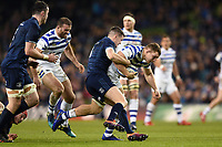 Sam Underhill of Bath Rugby takes on the Leinster defence. Heineken Champions Cup match, between Leinster Rugby and Bath Rugby on December 15, 2018 at the Aviva Stadium in Dublin, Republic of Ireland. Photo by: Patrick Khachfe / Onside Images