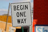 begin one way sign
