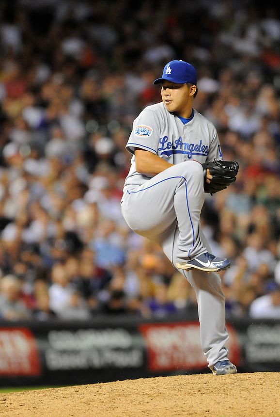 27 AUGUST 2010: Los Angeles Dodgers relief pitcher Hong-Chih Kuo (56) during a regular season Major League Baseball game between the Colorado Rockies and the Los Angeles Dodgers at Coors Field in Denver, Colorado. The Dodgers beat the Rockies 6-2.  *****For Editorial Use Only*****