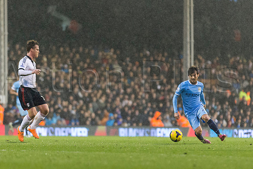 21.12.2013 London, England.  Manchester City's David SILVA during the Premier League game between Fulham and Manchester City from Craven Cottage.