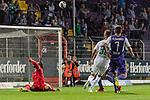 12.10.2018, Stadion an der Bremen Bruecke, Osnabrueck, GER, FSP, 1.FBL, VfL Osnabrueck vs Werder Bremen<br /> <br /> DFL REGULATIONS PROHIBIT ANY USE OF PHOTOGRAPHS AS IMAGE SEQUENCES AND/OR QUASI-VIDEO.<br /> <br /> im Bild / picture shows<br /> Marco Friedl (Werder Bremen #32) mit Torschuss, Philipp Kühn / Kuehn (VfL Osnabrueck #22), Bashkim Renneke (VfL Osnabrueck #7), <br /> <br /> Foto © nordphoto / Ewert