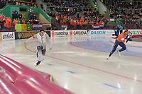SPEEDSKATING: HAMAR: Vikingskipet, 28-02-2020, ISU World Speed Skating Championships, Sprint, 500m Men, Hendrik Dombek (GER), Kjeld Nuis (NED), ©photo Martin de Jong