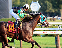 Scenes from Saratoga Racecourse, Sept. 4.  Sandy Belle  (No. 14) wins race ten, the final race of the meet.  Ridden by Jose Lezcano and trained by Richard Schosberg.  (Bruce Dudek/Eclipse Sportswire)