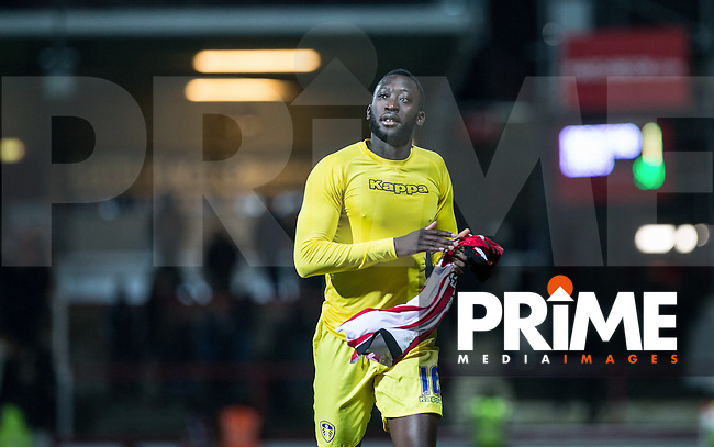 Toumani Diagouraga of Leeds United holds a Brentford shirts as he plays the day after joining leeds from brentford during the Sky Bet Championship match between Brentford and Leeds United at Griffin Park, London, England on 26 January 2016. Photo by Andy Rowland / PRiME Media Images.