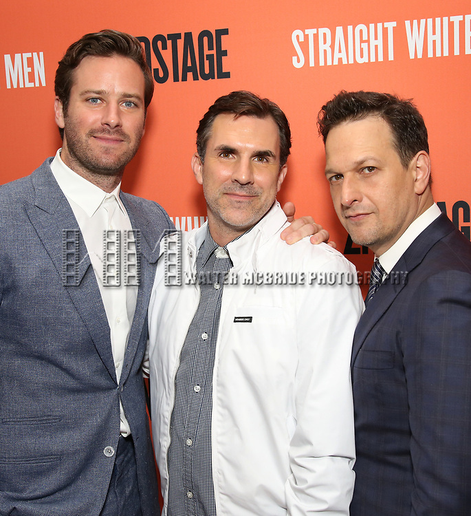 Armie Hammer, Paul Schneider and Josh Charles attend the Broadway Opening Night after party for 'Straight White Men' Broadway Opening Night at DaDong on July 23, 2018 in New York City