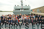 ..NAVY: Roses with their Escorts meet up with the crew of the Aoife Naval Ship on Saturday at Fenit Pier.. ....