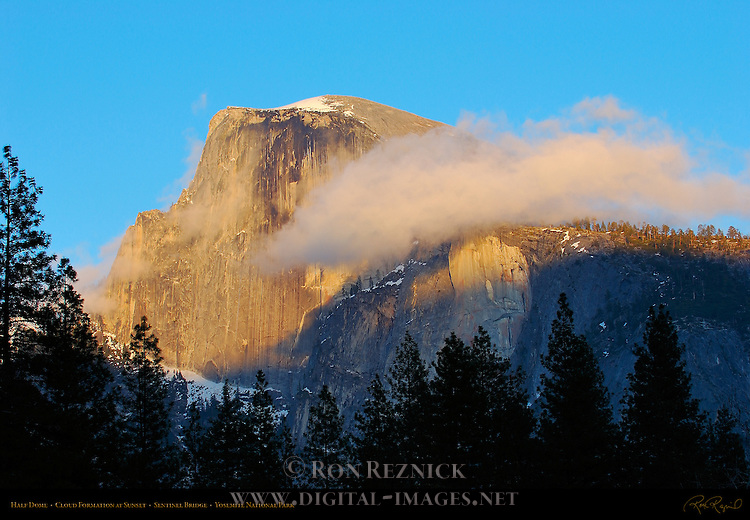 Half Dome in March from Sentinel Bridge, Cloud Formation at Sunset, Yosemite Valley, Yosemite National Park