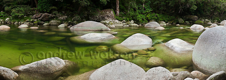 Mossman Gorge - a popular freshwater swimming area in Daintree National Park.  Mossman, Queensland, Australia