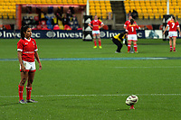 Magali Harvey lines up a kick at goal during the 2017 International Women's Rugby Series rugby match between the NZ Black Ferns and Canada at Westpac Stadium in Wellington, New Zealand on Friday, 9 June 2017. Photo: Dave Lintott / lintottphoto.co.nz