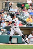Indianapolis Indians designated hitter Tony Sanchez (26) at bat during a game against the Rochester Red Wings on July 26, 2014 at Frontier Field in Rochester, New  York.  Rochester defeated Indianapolis 1-0.  (Mike Janes/Four Seam Images)