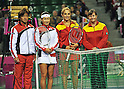 (L-R)  Takeshi Murakami, Kimiko Date-Krumm (JPN), Tamaryn Hendler, Ann Devries (BEL),.APRIL 21, 2012 - Tennis :.Japan's Kimiko Date-Krumm and captain Takeshi Murakami pose with Belgium's Tamaryn Hendler and captain Ann Devries before the second Singles match on day one of the Fed Cup 2012 World Group Play-Offs Japan vs Belgium at Ariake Colosseum in Tokyo, Japan. (Photo by AFLO)