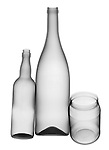 X-ray image of glass bottles and jar (black on white) by Jim Wehtje, specialist in x-ray art and design images.