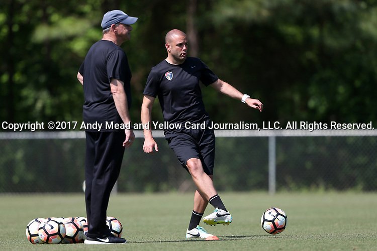 CARY, NC - APRIL 20: Assistant coaches Sean Nahas (right) and Bill Palladino (left). The North Carolina Courage held a training session on April 20, 2017, at WakeMed Soccer Park Field 7 in Cary, NC.