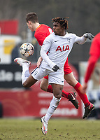 Kazaiah Sterling of Spurs U19 during the UEFA Youth League round of 16 match between Tottenham Hotspur U19 and Monaco at Lamex Stadium, Stevenage, England on 21 February 2018. Photo by Andy Rowland.