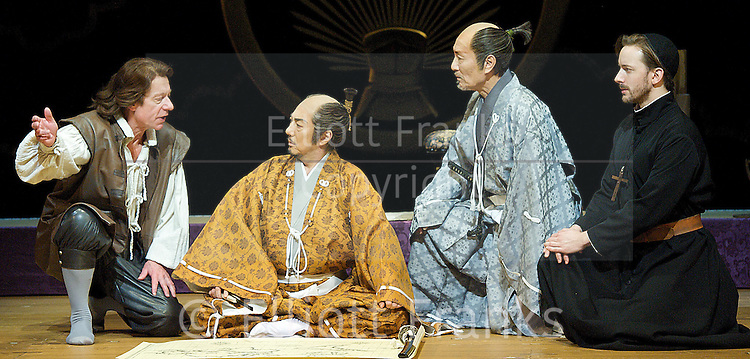 Anjin<br /> the shogun and the English Samurai<br /> at Sadler's Wells, London, Great Britain <br /> press photocall<br /> 31st January 2013 <br /> directed by Gregory Doran <br /> <br /> by Mike Poulton and Sho Kawai<br /> <br /> Masachika Ichimura as Ieyasu Tokugawa<br /> <br /> Stephen Boxer as William Adams<br /> <br /> Katsuya Kobayashi as Masazumi Honda<br /> <br /> Sam Mark as Antonio <br /> <br /> <br /> <br /> <br /> Photograph by Elliott Franks