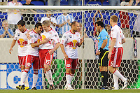 Sinisa Ubiparipovic (8) of the New York Red Bulls celebrates scoring with John Wolyniec (15) during a Major League Soccer (MLS) match against the Houston Dynamo at Red Bull Arena in Harrison, NJ, on June 2, 2010.