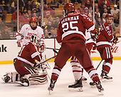 Patrick Curry (BU - 11), Merrick Madsen (Harvard - 31), Viktor Dombrovskiy (Harvard - 27) - The Harvard University Crimson defeated the Boston University Terriers 6-3 (EN) to win the 2017 Beanpot on Monday, February 13, 2017, at TD Garden in Boston, Massachusetts.