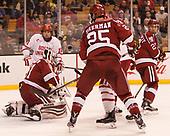 Patrick Curry (BU - 11), Merrick Madsen (Harvard - 31), Viktor Dombrovskiy (Harvard - 27) - The Harvard University Crimson defeated the Boston University Terriers 6-3 (EN) to win the 2017 Beanpot on Monday, February 13, 2017, at TD Garden in Boston, Massachusetts.