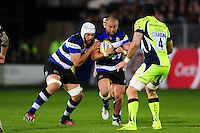 Tom Dunn of Bath Rugby takes on the Sale Sharks defence with Dave Attwood in support. Aviva Premiership match, between Bath Rugby and Sale Sharks on October 7, 2016 at the Recreation Ground in Bath, England. Photo by: Patrick Khachfe / Onside Images