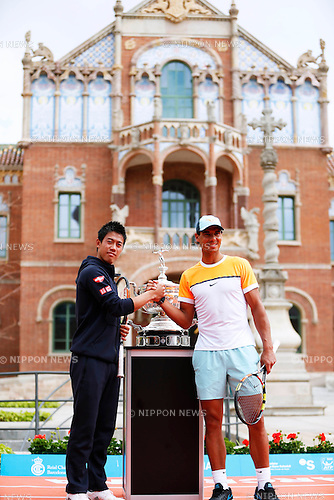 Kei Nishikori (JPN), Rafael Nadal (ESP), APRIL 20, 2015 - Tennis : The ATP 500 World Tour Barcelona Open Banco Sabadell tennis tournament presentation event at St. Pau Hospital in Barcelona, Spain, (Photo by D.Nakashima/AFLO)