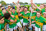Lixnaw players celebrate winning the County Minor Hurling Final at Kilmoyley on Saturday.