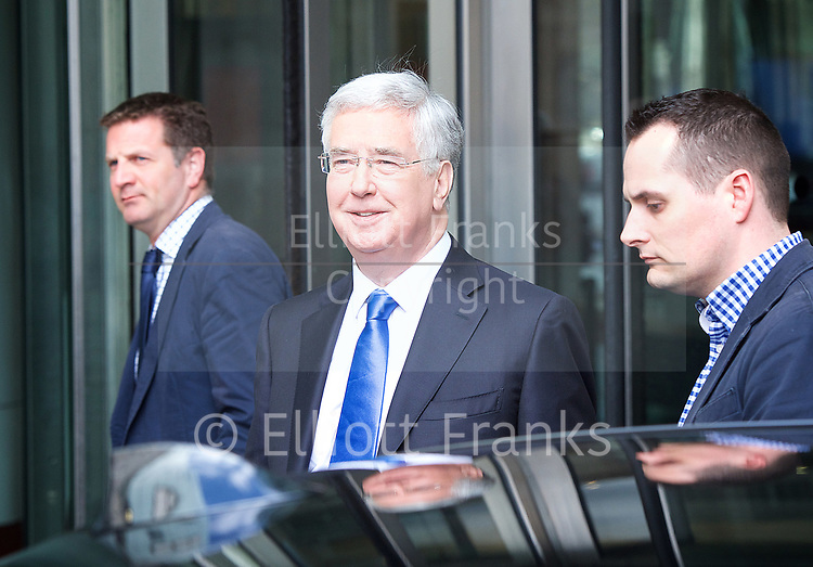 Andrew Marr Show <br /> departures <br /> BBC, Broadcasting House, London, Great Britain <br /> 2nd April 2017 <br /> <br /> <br /> Michael Fallon MP <br /> Defence Minister <br /> <br /> <br /> Photograph by Elliott Franks <br /> Image licensed to Elliott Franks Photography Services