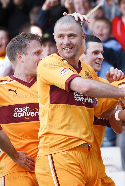 Michael Higdon celebratws after scoring