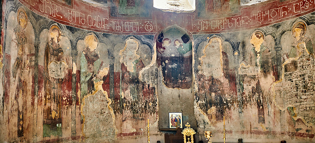 "picture & image of  the altar apse frescoes of the Samtavisi Georgian Orthodox Cathedral, 17th century, Shida Karti Region, Georgia (country)<br /> <br /> Built during the so called 10-11th century ""Georgian Golden Era"" Samtavisi cathedral is a built in classical Georgian style of the period. Layout on a cruciform ground plan with a high central cylindrical central cupola."