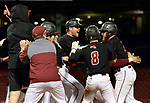 BOSTON, MA - APRIL 17: Members of the UMass baseball team celebrate their 10-9 walk-off win over Harvard during the 30th Annual Baseball Beanpot Championship Game at Fenway Park in Boston, Massachusetts on April 17, 2019. Photo by Christopher Evans