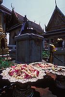 Jasmine garlands and blossoms in silver trays, Grand Palace, Bangkok, Thailand