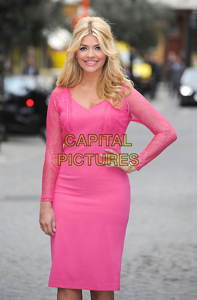 Holly Willoughby and her real women presents her SS13 summer fashion collection for Very.co.uk, Claridge's, Brook Street Mews, London, England..April 9th, 2013.half length pink dress lace hand on hip.CAP/PP/GM.©Gary Mitchell/PP/Capital Pictures