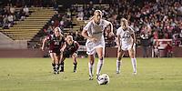 Santa Clara, CA - November 22, 2013:  Courtney Verloo scores on a last minute penalty kick in regulation time in Stanford's 3-2 double overtime victory over Santa Clara at Buck Shaw Stadium, Santa Clara.