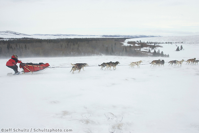 Paul Gebhardts Team in Blowing Snow on Coastline near Egavik 2005 Iditarod