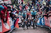 Luis Leon Sanchez (ESP/Astana) &amp; Co. up the infamous Monte Zoncolan (1735m/11%/10km)<br /> <br /> stage 14 San Vito al Tagliamento &ndash; Monte Zoncolan (186 km)<br /> 101th Giro d'Italia 2018