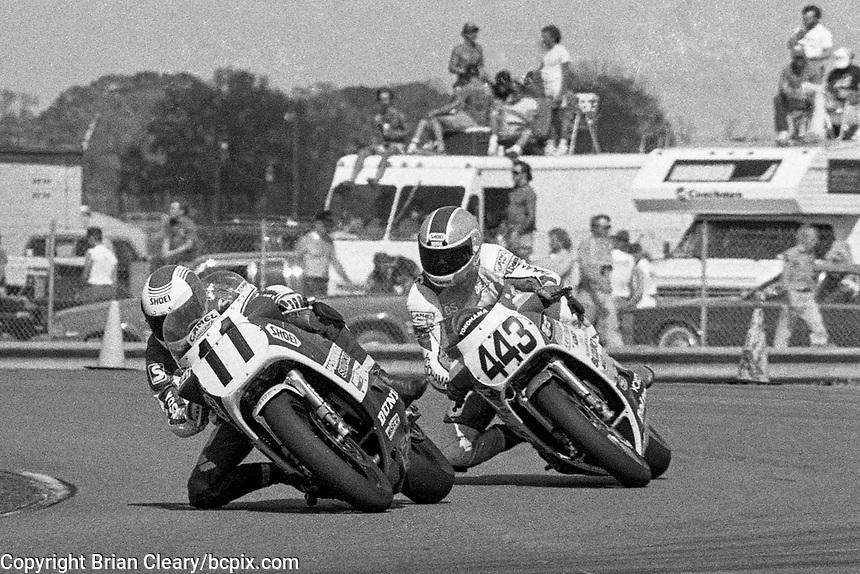 Gary Goodfellow (#11 Suzuki), Dean Swims (#443 Suzuki), Daytona 200, Daytona International Speedway, March 8, 1987.  (Photo by Brian Cleary/bcpix.com)