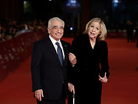 Il regista statunitense Martin Scorsese posa con la moglie Helen Morris sul red carpet per la presentazione del suo film 'Irishman' alla 14^ Festa del Cinema di Roma all'Aufditorium Parco della Musica di Roma, 21 ottobre 2019.<br /> US director Martin Scorsese poses with his wife Helen Morris on the red carpet to present his movie 'Irishman' during the 14^ Rome Film Fest at Rome's Auditorium, on 21 October 2019.<br /> UPDATE IMAGES PRESS/Isabella Bonotto