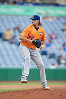 St. Lucie Mets starting pitcher David Peterson (26) delivers a pitch during a game against the Clearwater Threshers on August 11, 2018 at Spectrum Field in Clearwater, Florida.  St. Lucie defeated Clearwater 11-0.  (Mike Janes/Four Seam Images)