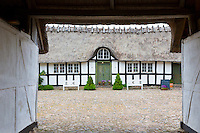 Quaint old half-timbered thatched Solbjerggaard bed and breakfast hotel in Millinge, Denmark