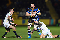 Matt Garvey of Bath Rugby takes on the Worcester Warriors defence. Aviva Premiership match, between Worcester Warriors and Bath Rugby on January 5, 2018 at Sixways Stadium in Worcester, England. Photo by: Patrick Khachfe / Onside Images